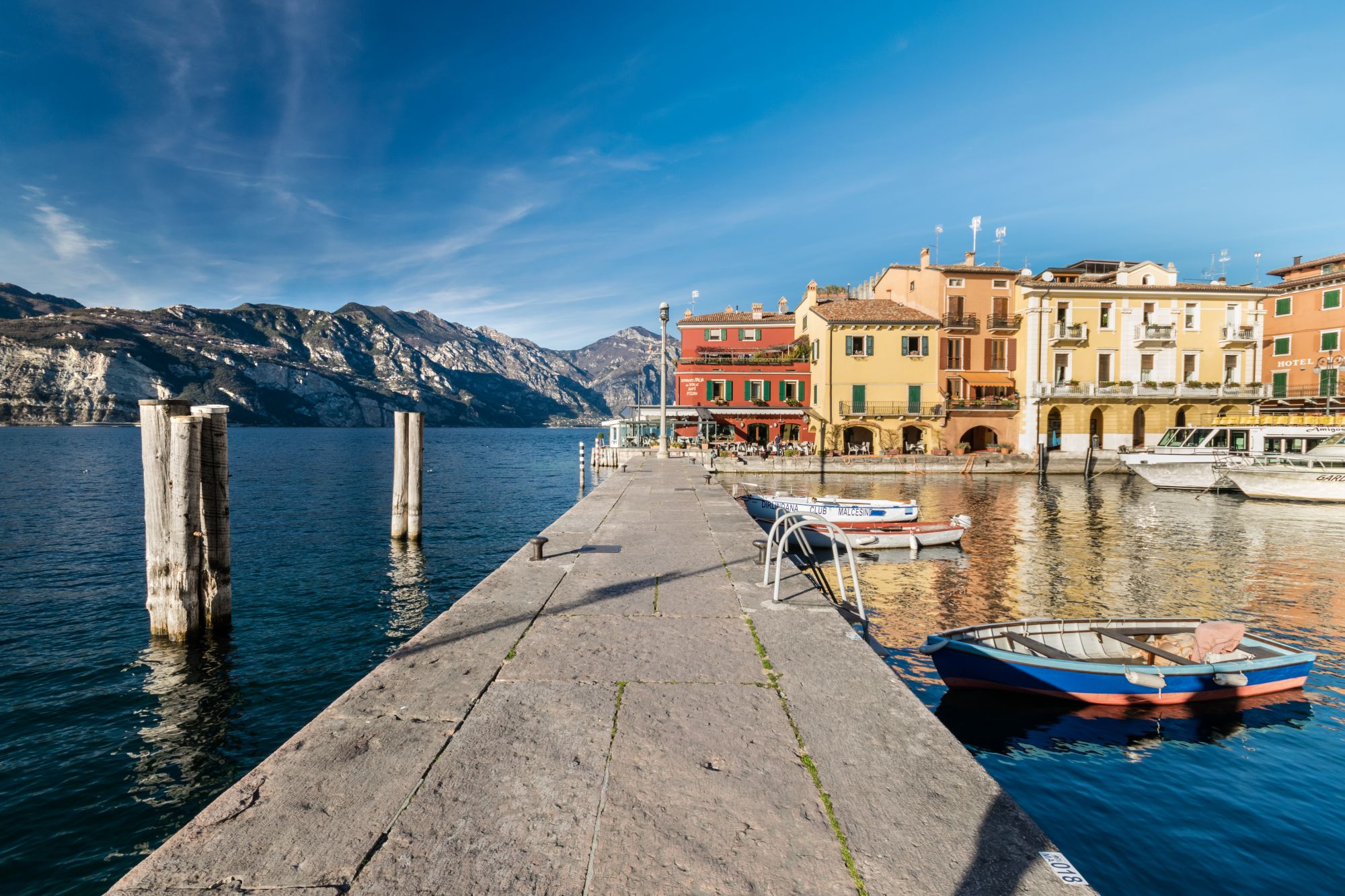 "Malcesine, Italy - January 18, 2016: Malcesine is a small town on Lake Garda (Italy). Beautiful and picturesque is called ""the pearl of the lake""."