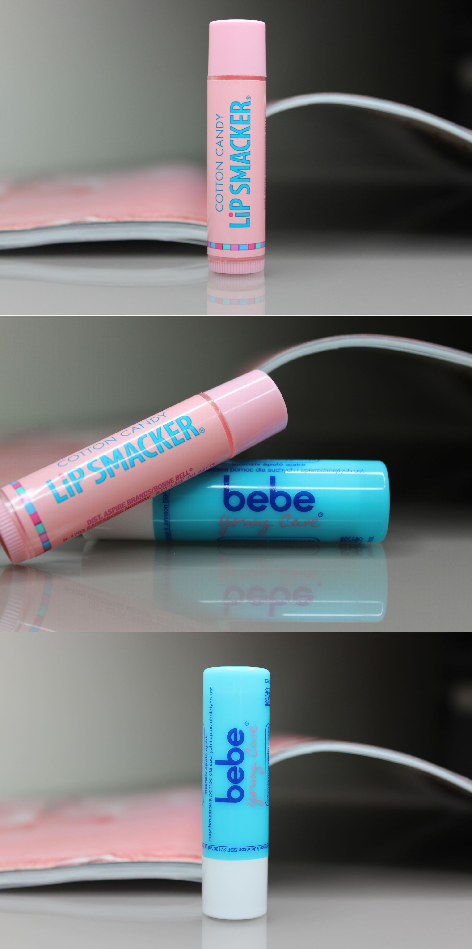 Lip Smacker in Cotton Candy & Bebe Intensive Care Lip Balms