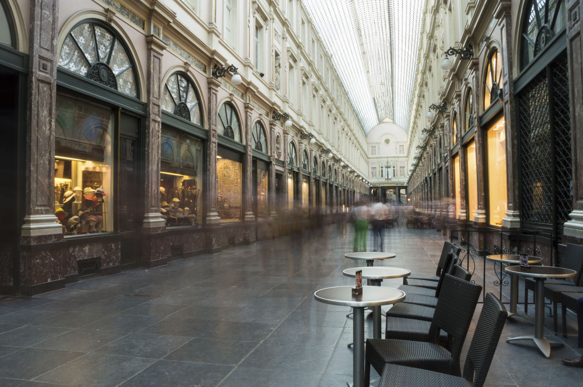 The Saint-Hubert royal galleries in Brussels (Galleries de la Reine), with a 200 meters long glass roof at a height of 8 meters. Since 2008 a UNESCO heritage site