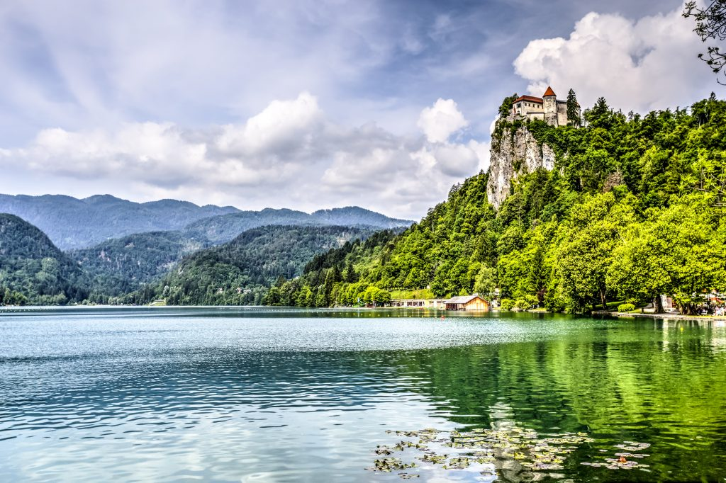 Bled Castle seen from Lake Bled, Slovenia