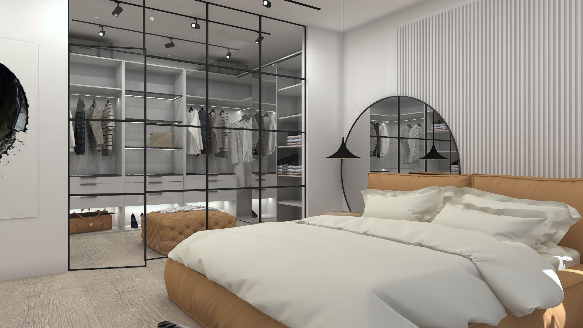 Sypialnia z garderobą w stylu industrialnym 101