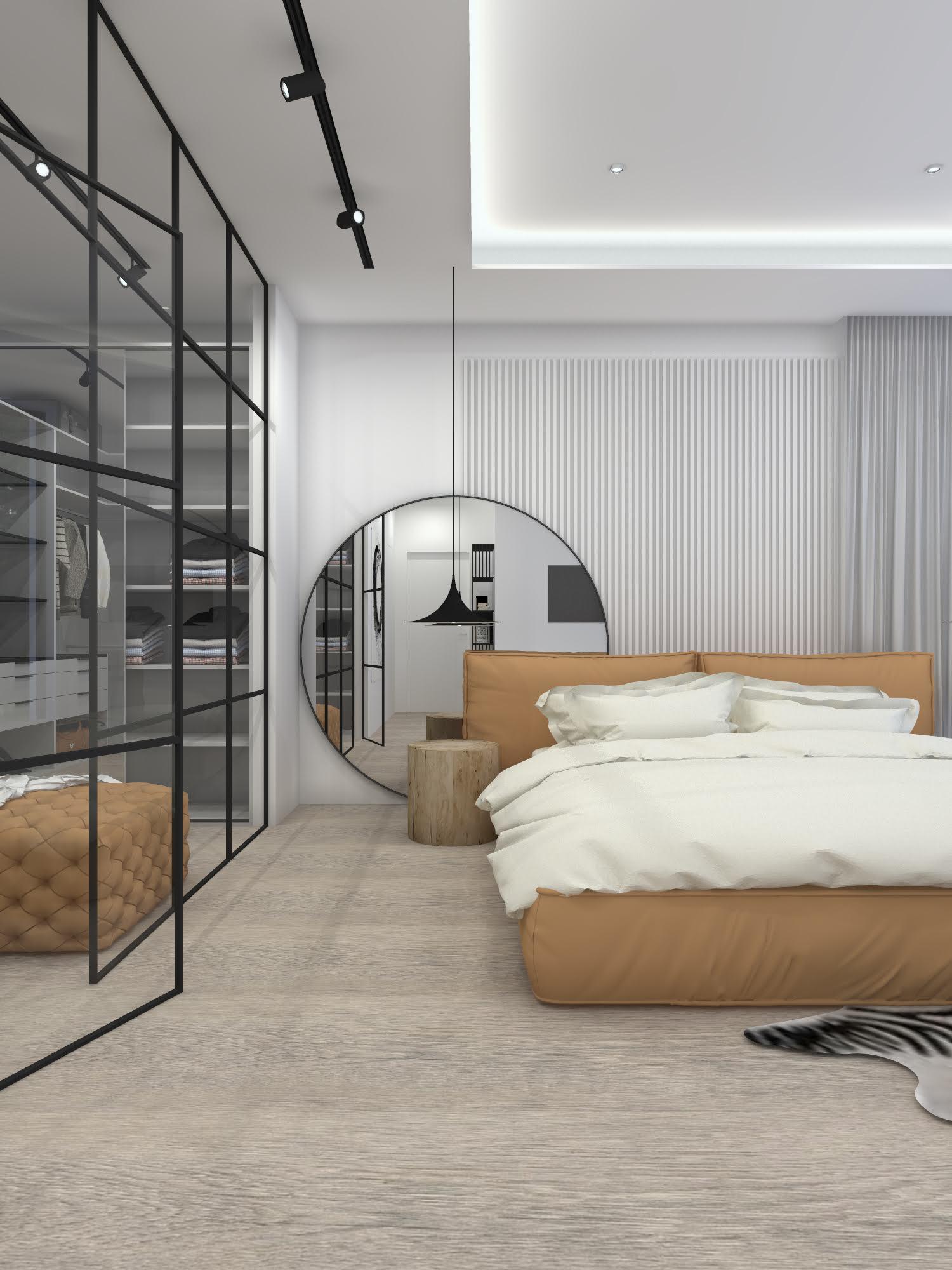 Sypialnia z garderobą w stylu industrialnym 103