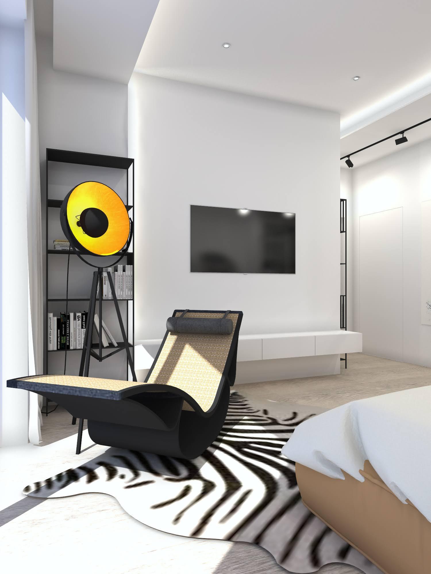 Sypialnia z garderobą w stylu industrialnym 104
