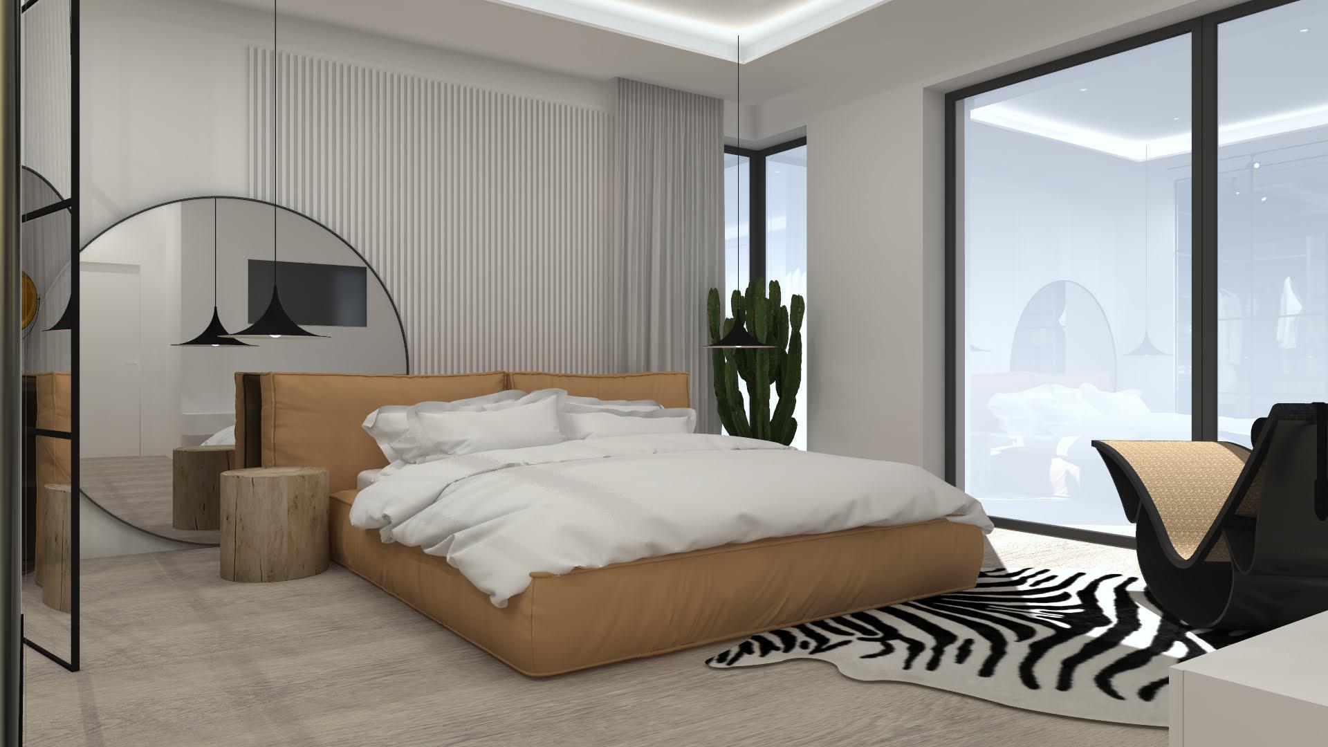 Sypialnia z garderobą w stylu industrialnym 105