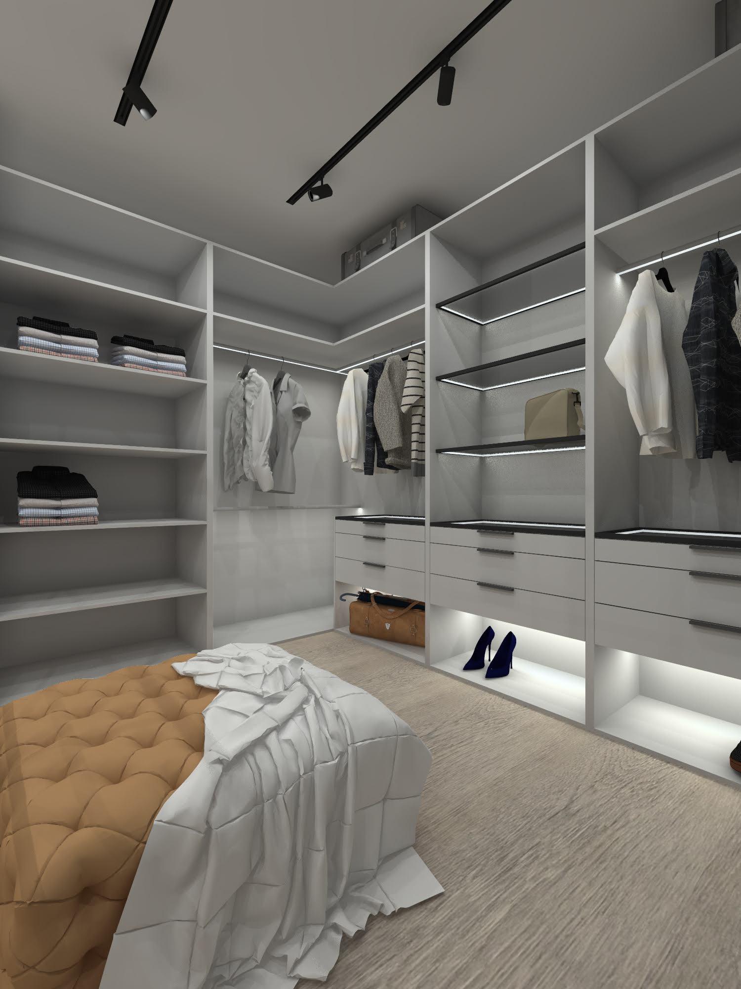 Sypialnia z garderobą w stylu industrialnym 106