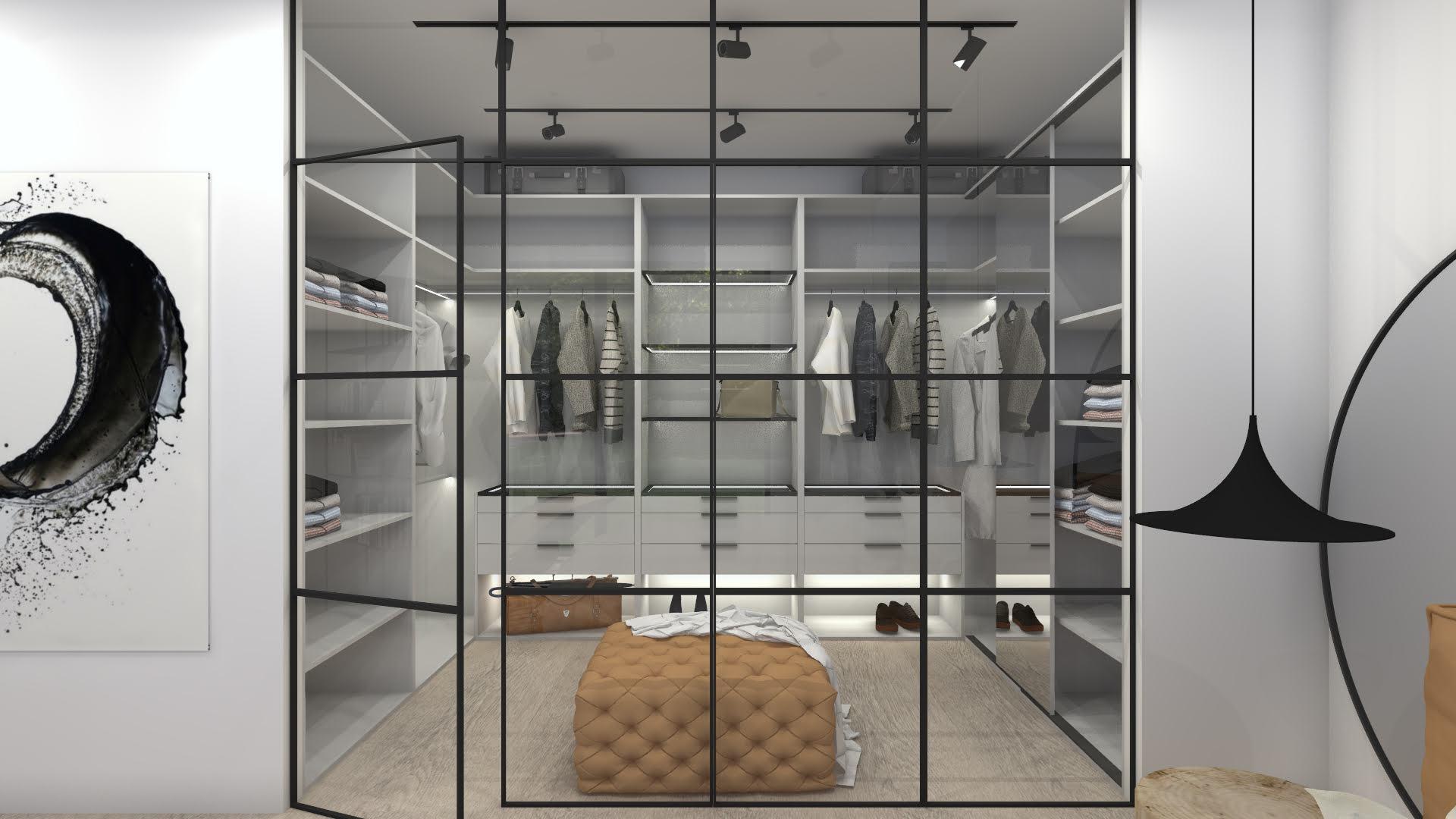 Sypialnia z garderobą w stylu industrialnym 107