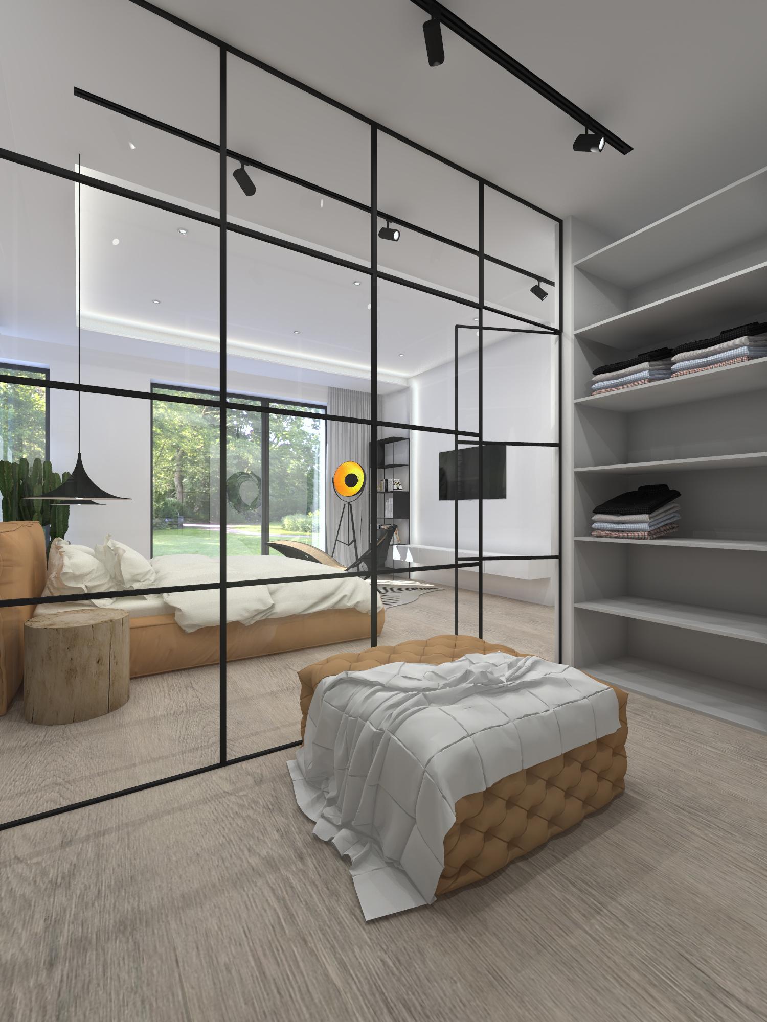 Sypialnia z garderobą w stylu industrialnym 108
