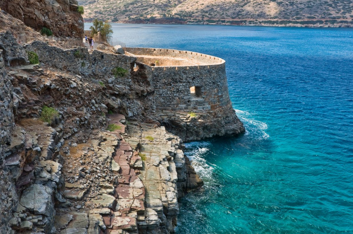 Bastion of an ancient Byzantian citadel on the Grecian island