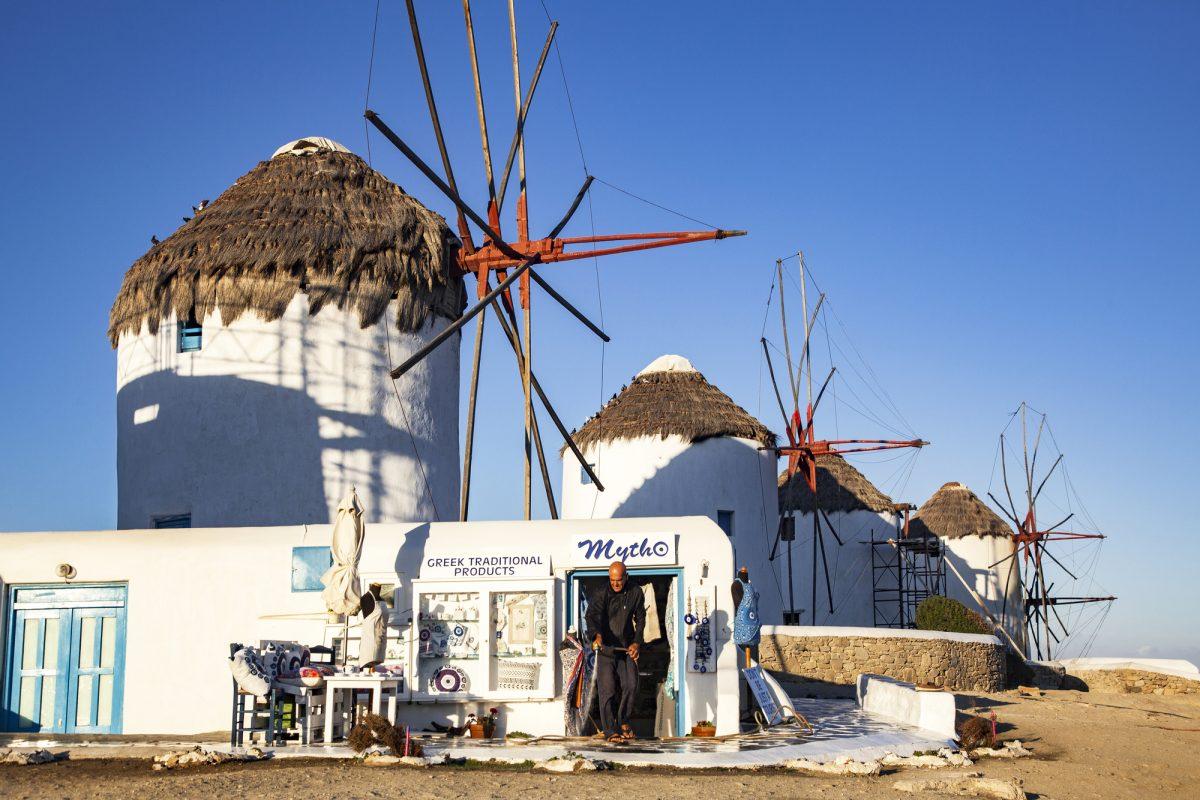 MYKONOS, GREECE - SEPTEMBER 2018: famous windmills of Mykonos, Greece