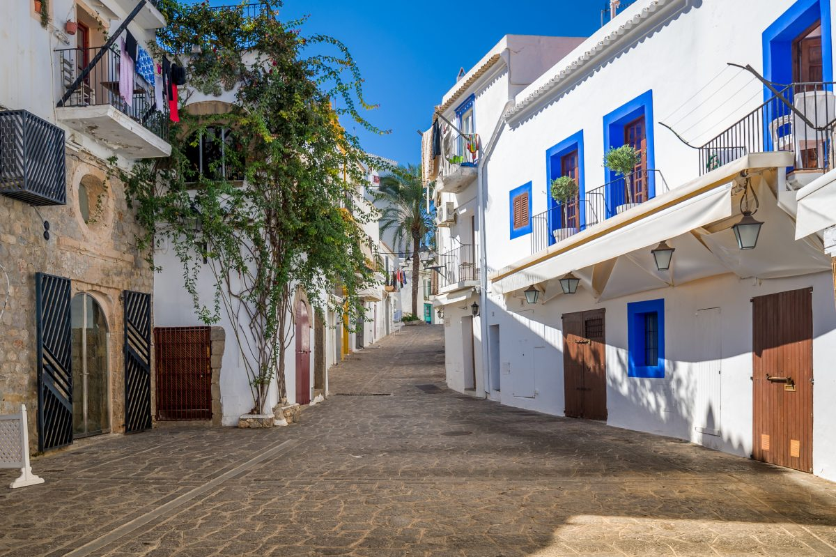 Narrow pedestrian streets in Ibiza old town center. Baleares, Spain